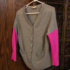 Kate Spade gray and bright pink cardigan